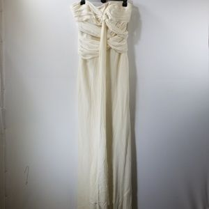 NWT Nicole Miller Silk Ruffled Strapless Gown